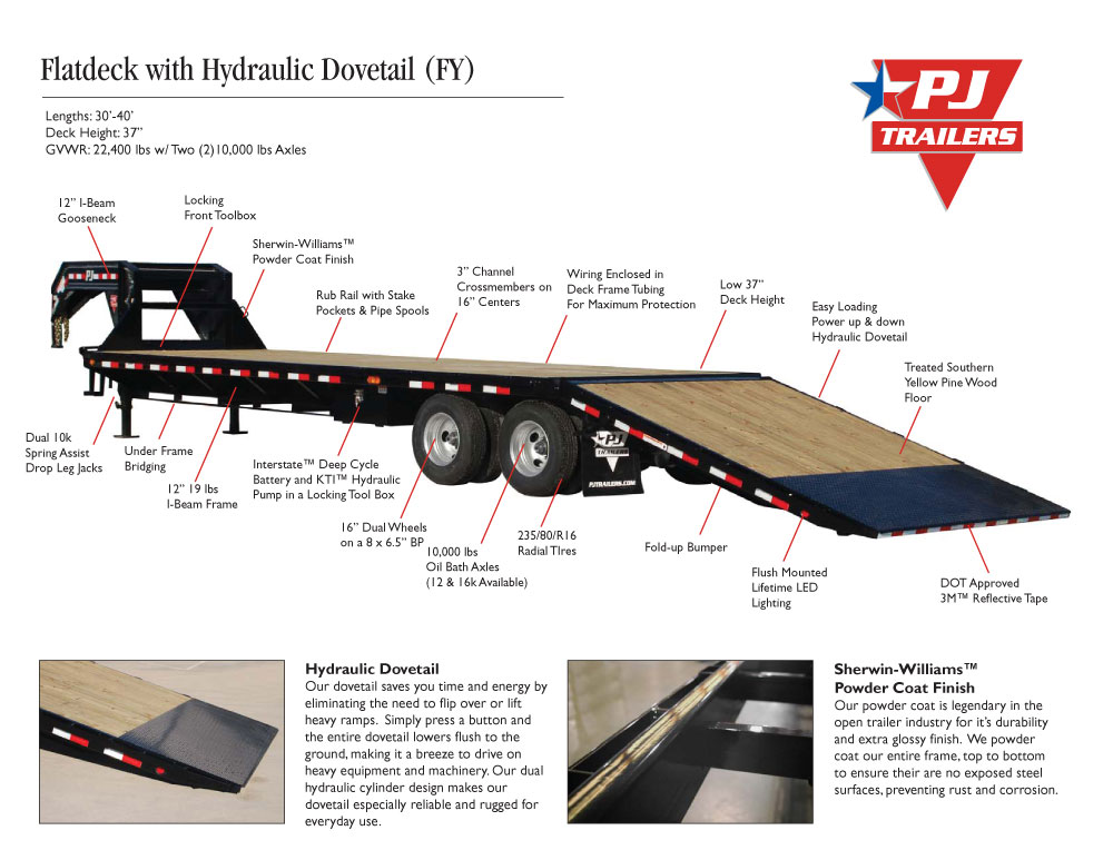 Pj Trailers Flatdeck With Hydraulic Dove Fy